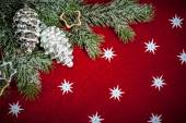 Christmas background with decorations and toys — Stock Photo