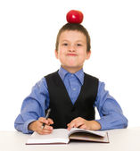 Boy in a business suit with diary — Foto de Stock