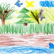 Forest and wild animals. child drawing — Stock Photo #55670333