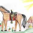 Horse on meadow. child drawing — Stock Photo #55671409