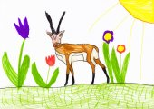 Antelope on flower meadow. child drawing — 图库照片