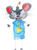 Blue mouse with number one. child drawing — 图库照片