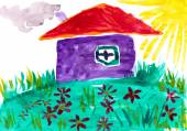 Home on meadow with flowers. Childlike drawing. — Stock Photo