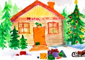 Christmas ornate winter home in forest. Childlike drawing. — Stock Photo