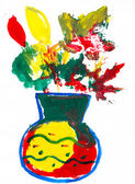 Vase with autumn leaves and flowers. child drawing — 图库照片
