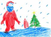 Santa goes on snow. Child drawing. — Stock Photo