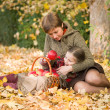 Woman and little girl in autumn park with apple basket — Stock fotografie #55898275