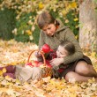 Woman and little girl in autumn park with apple basket — Stock Photo #55898275