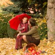 Woman and little girl in autumn park with apple basket — Stock fotografie