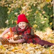 Little girl in autumn park with apple basket — Stock Photo #56224841