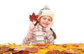 Girl with autumn leaves on white — Stock Photo