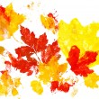 Autumn leaves watercolor print on paper. child drawing — Stock Photo #60300163