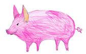Pink pig. children pencil drawing — Stockfoto