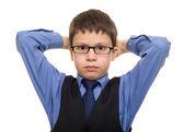 Chlapec v obleku — Stock fotografie