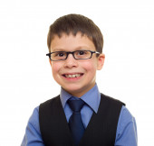 Portrait of a boy in business suit — 图库照片