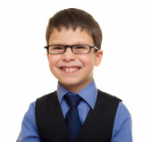 Portrait of a boy in business suit — Stok fotoğraf