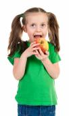Meisje portret met apple — Stockfoto