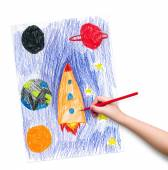 Space ship. children drawing. — Stock Photo