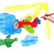 Retro airplanes. children drawing — Stock Photo #67479563