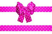 Pink bow and ribbon with white polka dots made from silk — Stock Photo