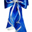 Blue bow with silver ribbon made from silk — Stock Photo #70214367
