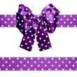 Violet bow and ribbon with white polka dots made from silk — Stock Photo #70436633