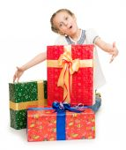Girl with gift boxes — Stock Photo