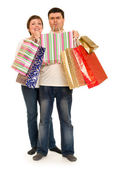 Couple man and woman with shopping bag — Stock Photo
