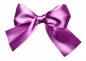 Purple bow made from silk — Stock Photo
