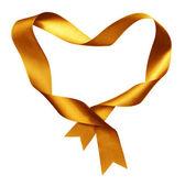 Marco de la forma del corazón amarillo de seda trenzado de la cinta — Foto de Stock