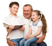 Grandfather and grandchildren portrait — Foto de Stock