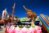 Thai dragon or Naga and Guanyin statue — Stock Photo