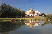 Church with reflection on pond at Wat Sorapong — Стоковое фото