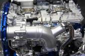 Silver chrome car motor engine — Stock Photo