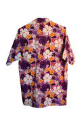 Purple Songkran Shirt with flower pattern isolated on white  — Stock Photo