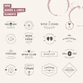 Set of badges and labels elements for wine — Stockvector