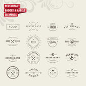 Set of badges and labels elements for restaurant — Vettoriale Stock