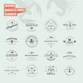 Set of badges and labels elements for seafood — Stock Vector