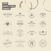 Set of badges and labels elements for coffee — Stock Vector