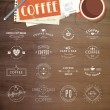 Set of vintage style elements for labels and badges for coffee, with wood texture, cup of coffee and a notepad in the background — Stock Vector #51951651