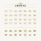 Set of crown line and bold icons — Vetorial Stock