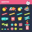 Set of flat design stickers and ribbons for shopping — Stock Vector #54322073