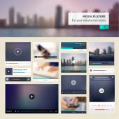Set of media players for websites and mobile websites design — Vetorial Stock