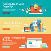 Flat design vector illustration concepts for online education,online professional training courses, staff training, retraining, specialization, university, distance education, tutorials — Vetor de Stock