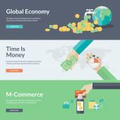 Flat design vector illustration concepts for business, finance, economy, investment, marketing, consulting, financial market, business strategy, m-commerce — Διανυσματικό Αρχείο