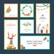 Set of flat design vector illustration Christmas and New Year greeting card — Stock Vector #56547691