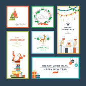 Set of flat design vector illustration Christmas and New Year greeting card — Vetorial Stock