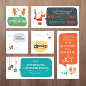 Set of flat design Christmas and New Year greeting card templates — Vetorial Stock