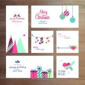 Christmas and New Year greeting card templates — Vector de stock