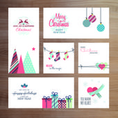 Christmas and New Year greeting card templates — Stok Vektör
